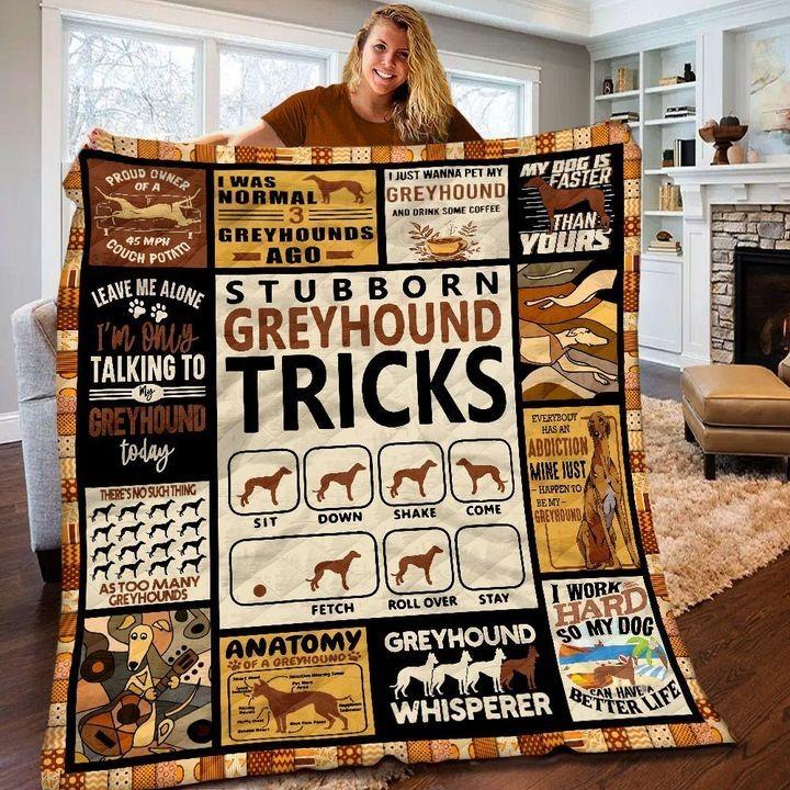 Stubborn Greyhound Tricks Quilt And Blanket