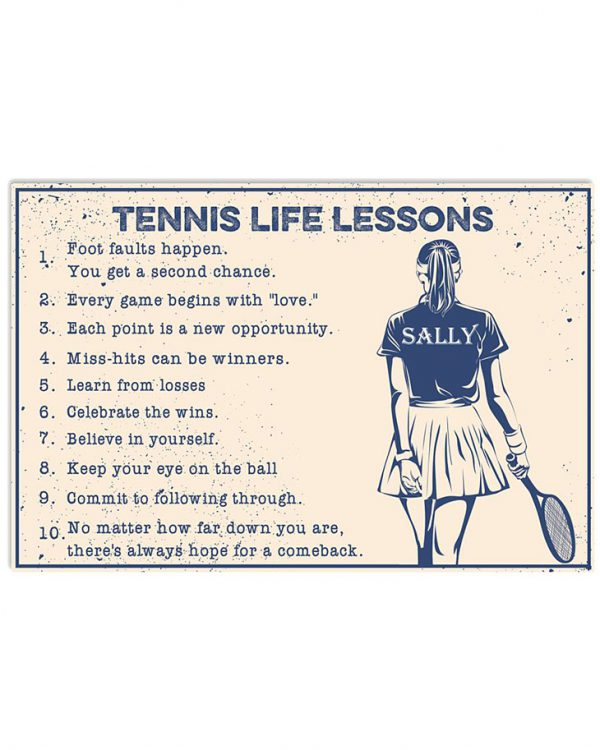 Tennis Life Lessons Custom Name Poster 1
