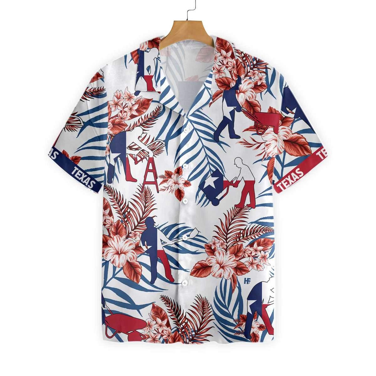 Texas Construction Worker Hawaiian Shirt