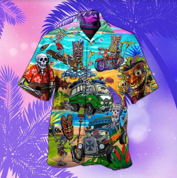 Tiki and skull hawaiian shirt