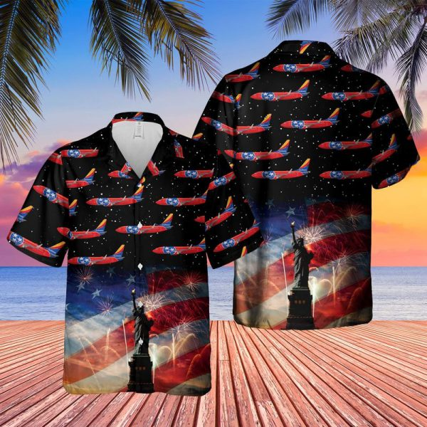 US Airlines 3 Tennessee Boeing 737 7H4 4th of July Hawaiian Shirt 1