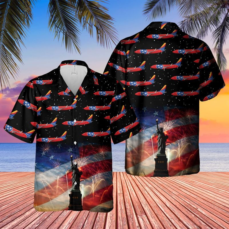 US Airlines 3 Tennessee Boeing 737 7H4 4th of July Hawaiian Shirt
