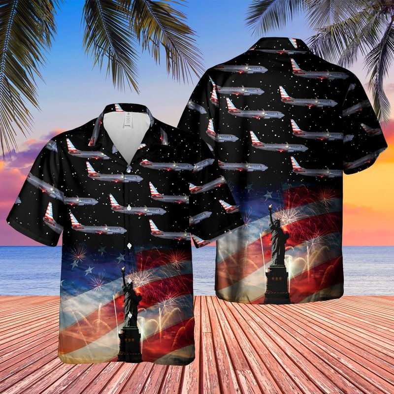 US Airlines Boeing 737 823 4th of July Hawaiian Shirt