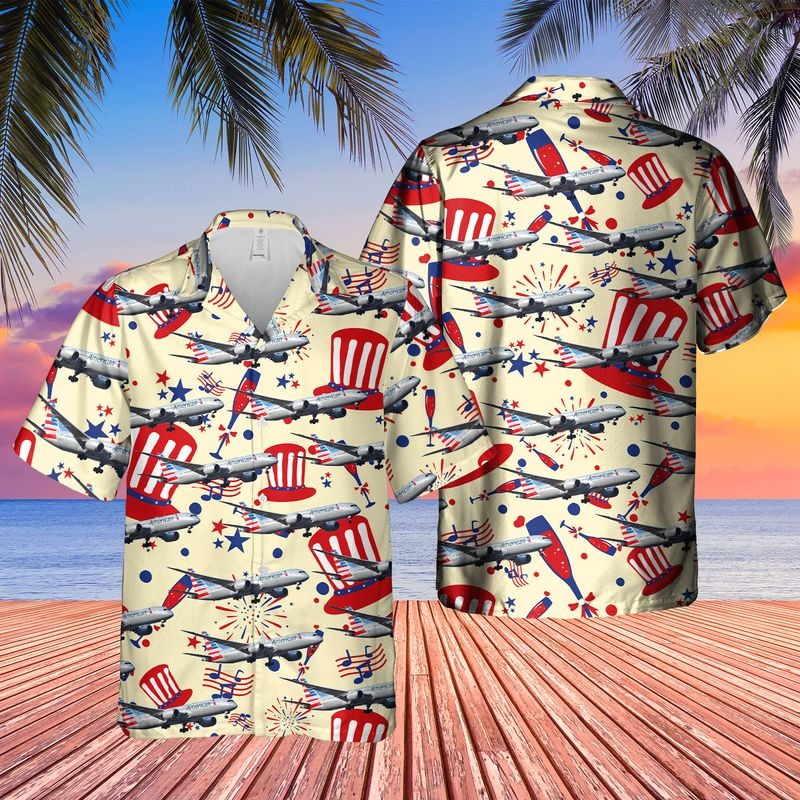US Airlines Boeing 787 9 Dreamliner 4th of July Hawaiian Shirt