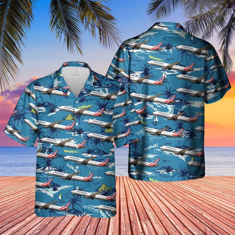 US Airlines Boeing 787 9 Dreamliner Hawaiian Shirt
