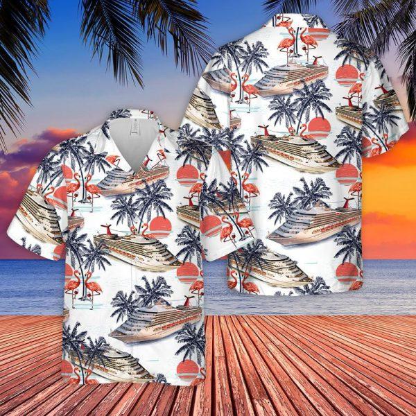 US Cruise Ship Half Moon Cay Flamingo Wine Hawaiian Shirt