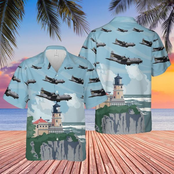 Usaf Minnesota Air National Guard 133rd Airlift Wing Lockheed C130h Hercules Hawaiian Shirt