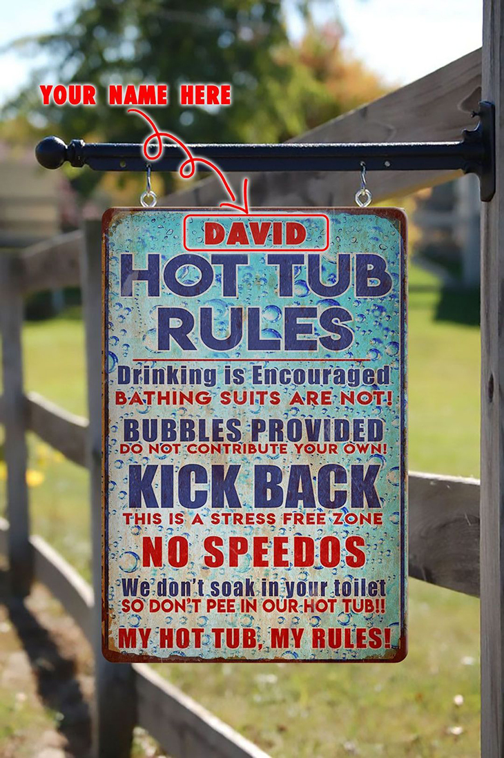 Vintage bubble background hot tub rules custom name metal sign