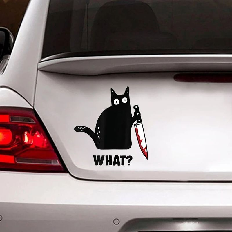 What Black Cat And Knife Decal