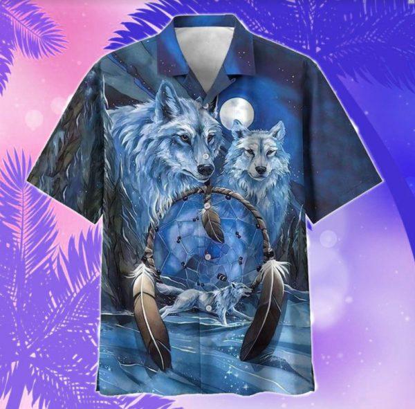 Wolf Native American hawaiian shirt