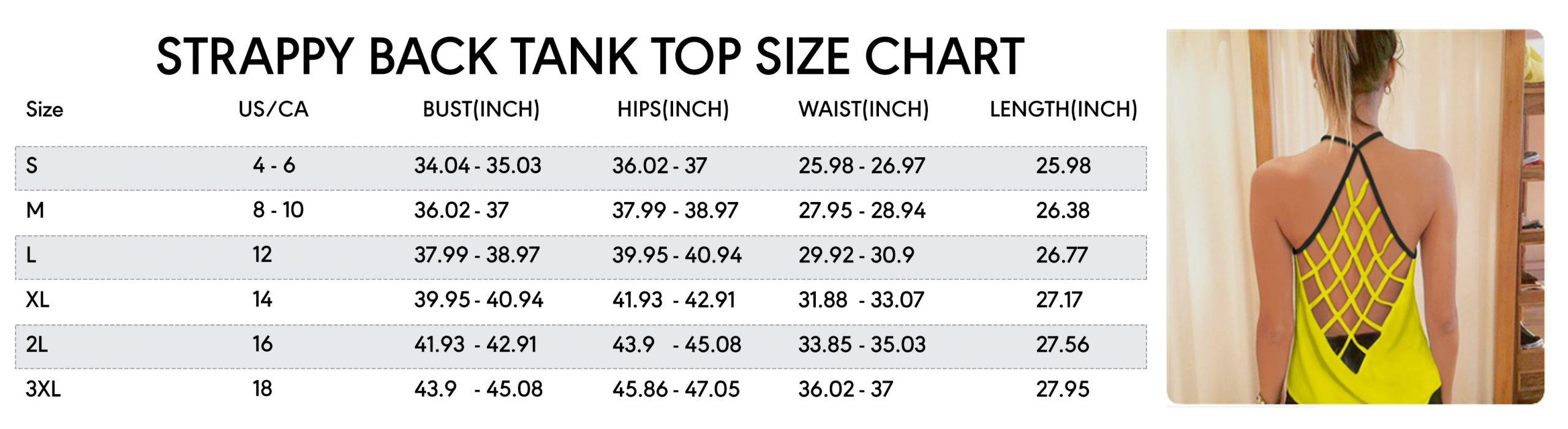 strappy back tank top size chart