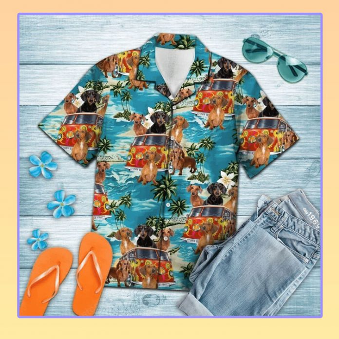 Dachshund hippie summer hawaiian shirt