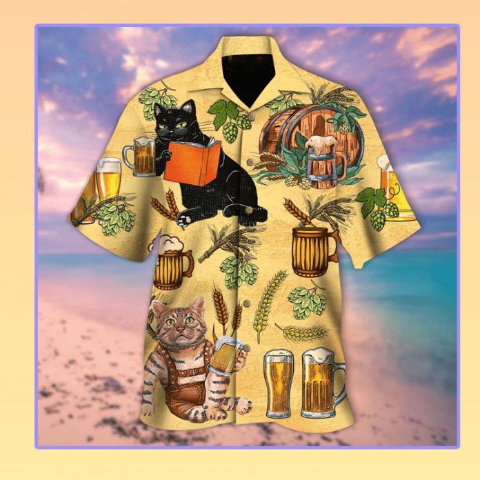 Cat and beer hawaiian shirt