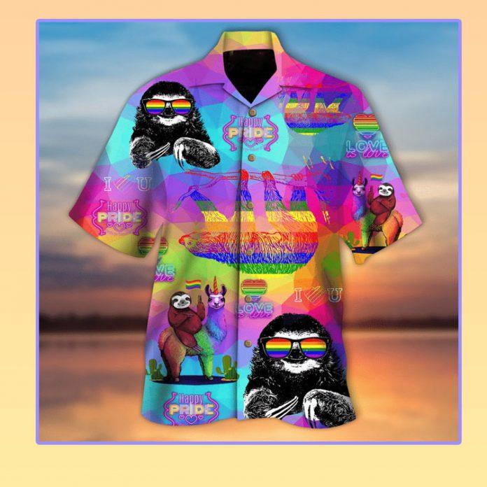 Pride month LBGT sloth hawaiian shirt