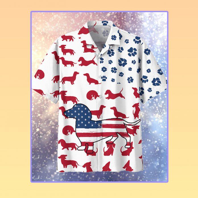 American flag dachshund hawaiian shirt