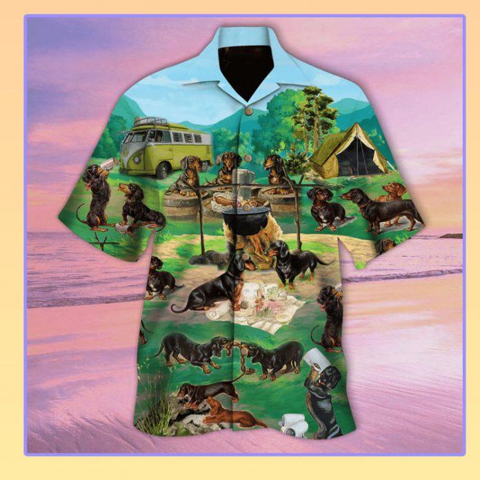 Dachshund go camping hawaiian shirt