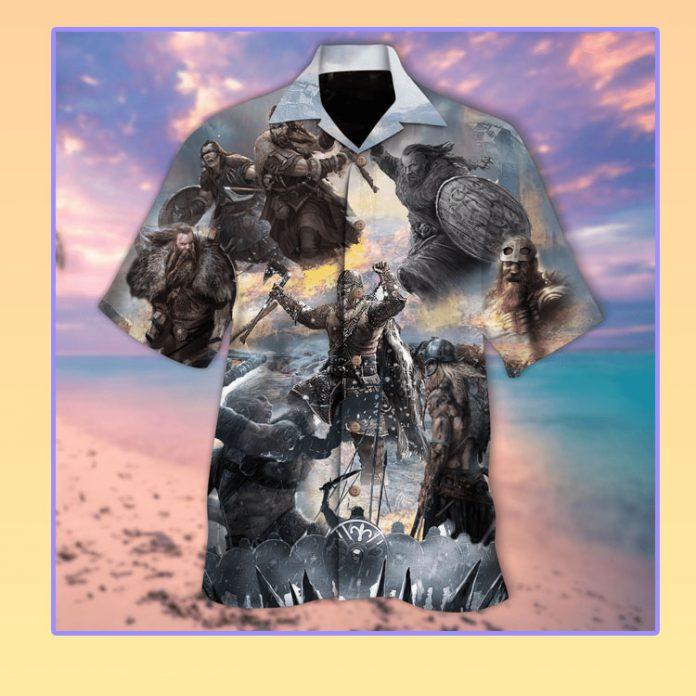 Viking snow field war hawaiian shirt