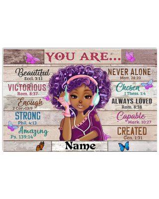 Black Teenage girl you are beautiful custom name poster as