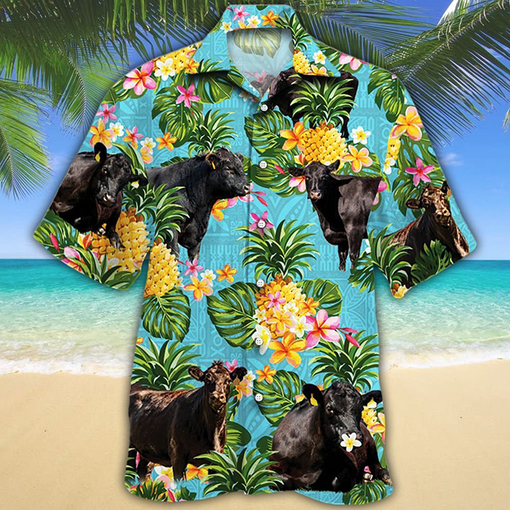 Black Angus Cattle Lovers Sunflower WaterColor Hawaiian Shirt6