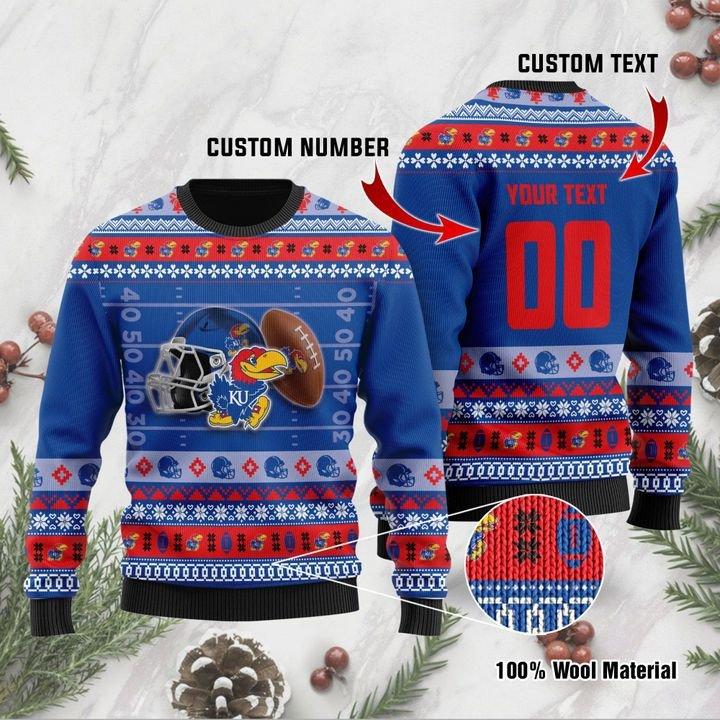 Kansas Jayhawks Custom Ugly Christmas Sweater 1
