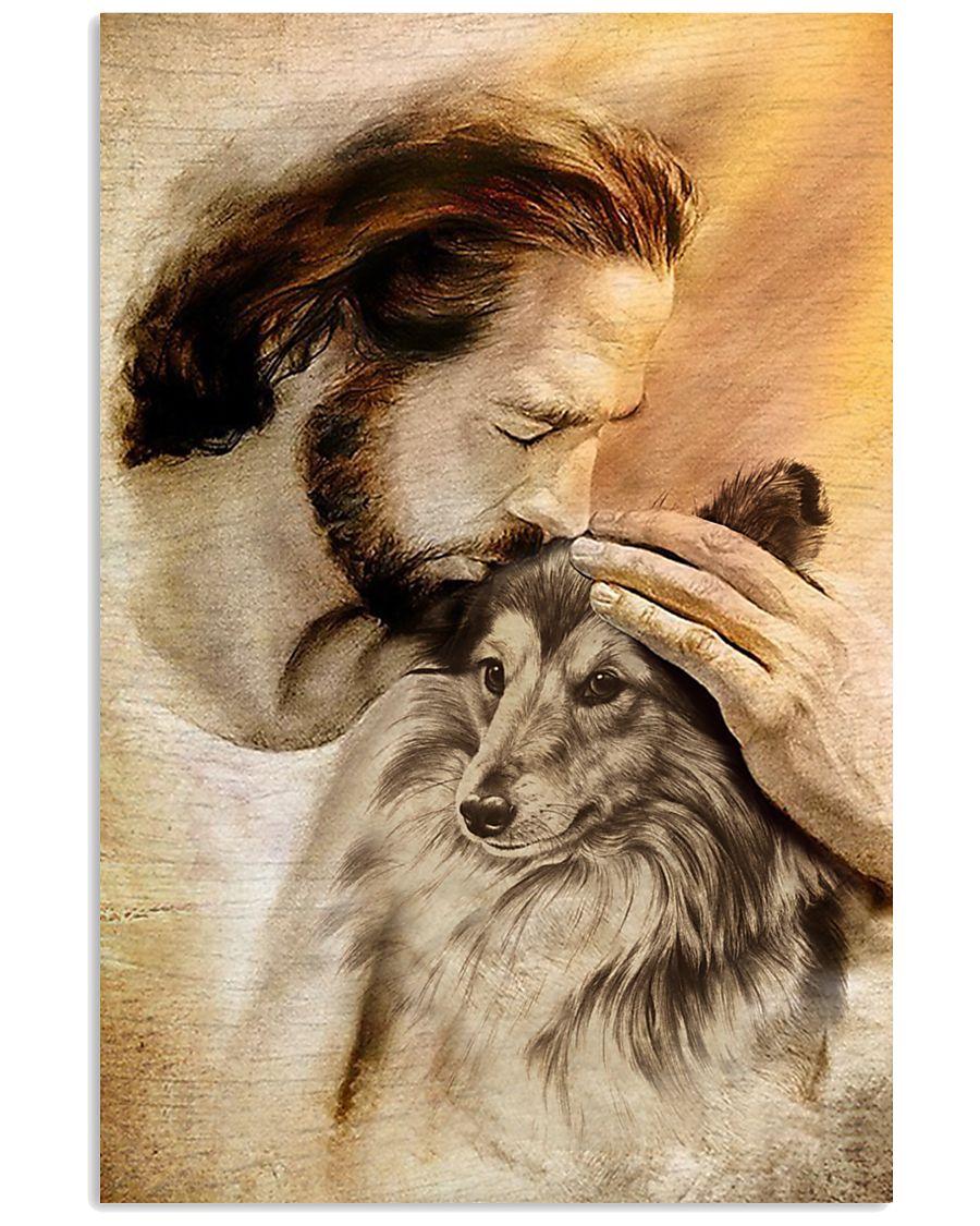 23 Jesus with lovely Shetland sheepdog for dog lover Vertical Poster 1