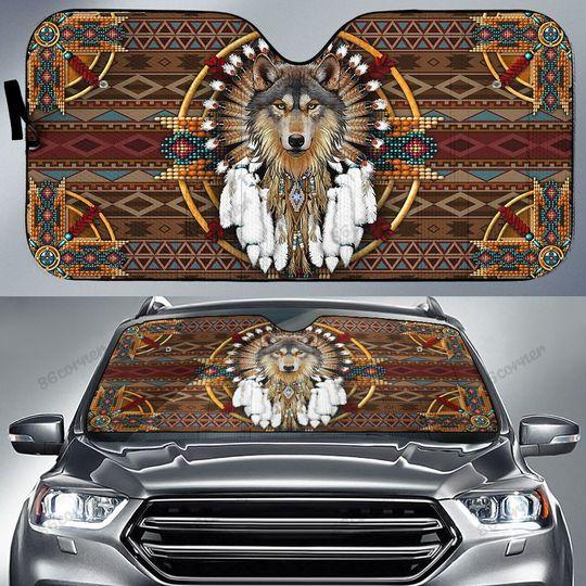 29 Native Wolf Car Sunshade 1