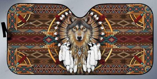 29 Native Wolf Car Sunshade 2
