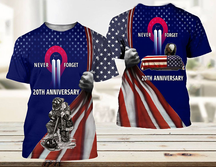 American Flag Never Forget 20th Anniversary 3d Hoodie And T Shirt4