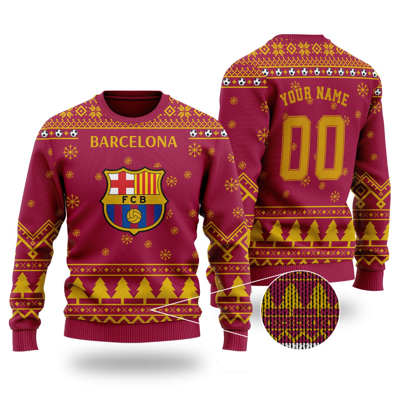 Barcelona custom ugly christmas sweater