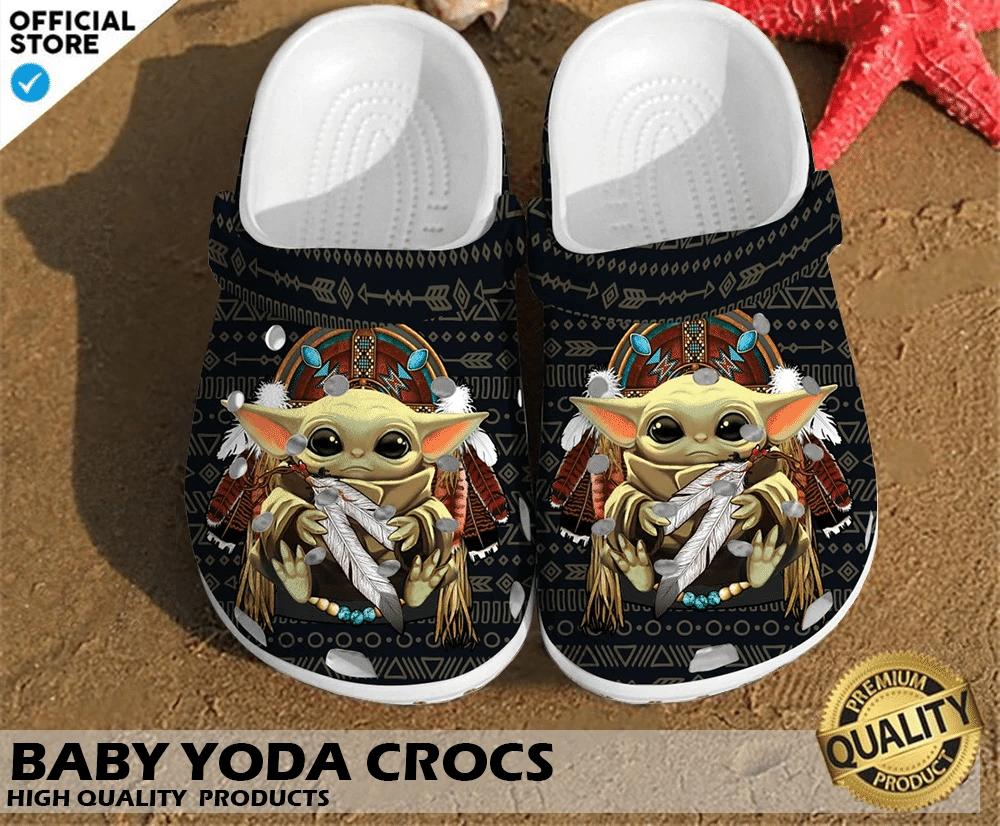Baby Yoda crocs crocband shoes 1