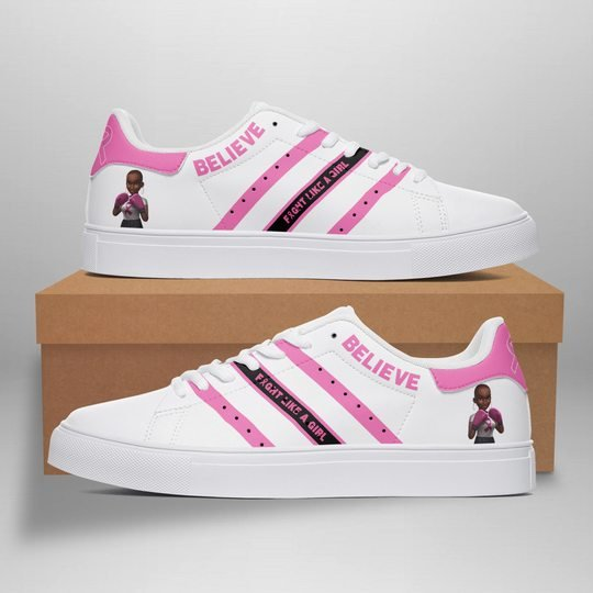 Breast Cancel Awareness believe front like a girl stan smith shoes