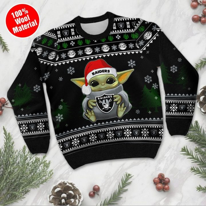 Baby Yoda Oakland Raiders ugly sweater 2