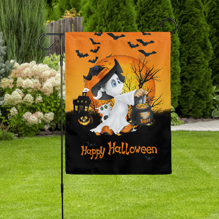 Ghost Trick Or Treat Happy Halloween Flag