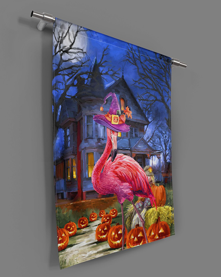Flamingo In The Mysterious House Flags7