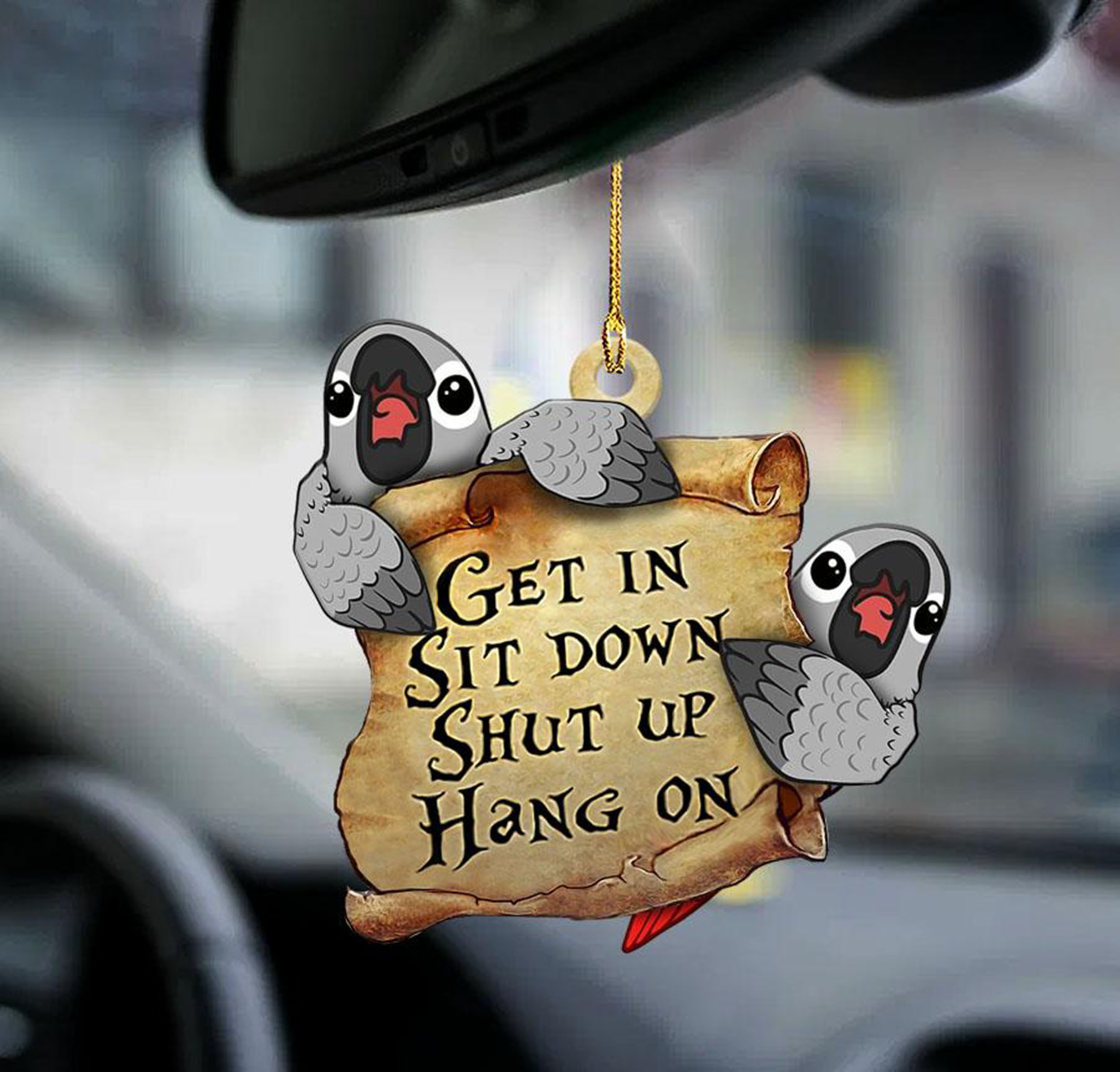 African Grey Parot Get In Sit Don Shut Up Hang On Ornament