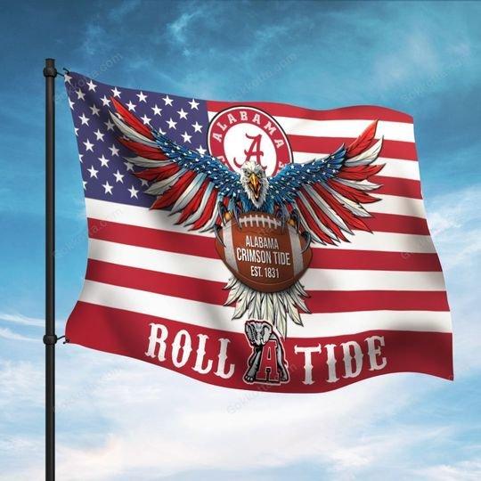 Alabama crimsson tiide roll tide flag