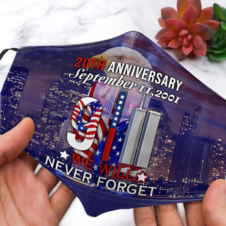 American Flag 20th Anniversary September 2001 We Will Never Forget Mask