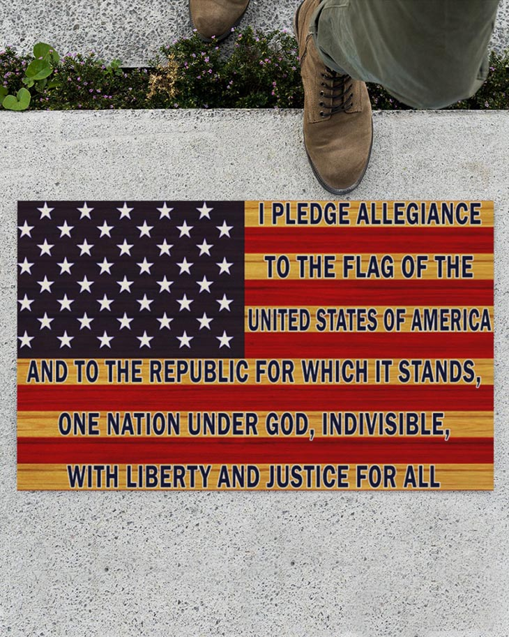 American Flag I Pledge Allegiance To The Flag Of The United States Of America Doormat And Yard Sign