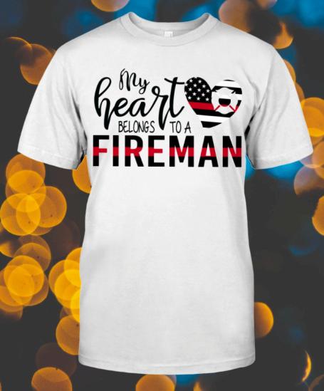 American Flag My Heart Belongs To A Fireman shirt