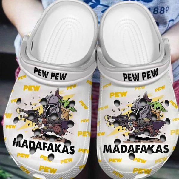 Baby Yoda Pew Pew Madafakas Crocs Crocband shoes
