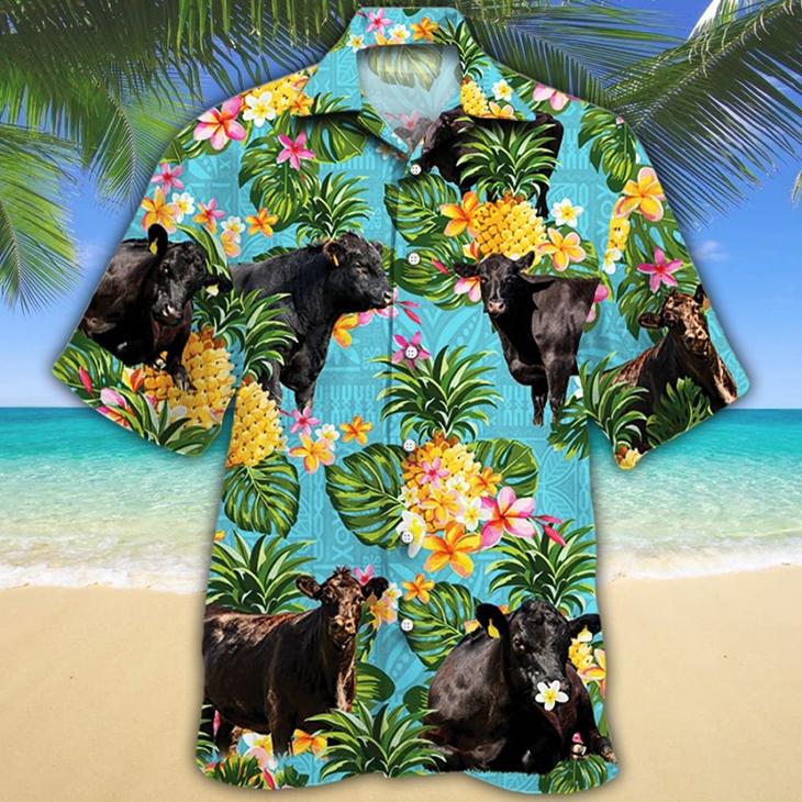 Black Angus Cattle Lovers Hawaiian Shirt4