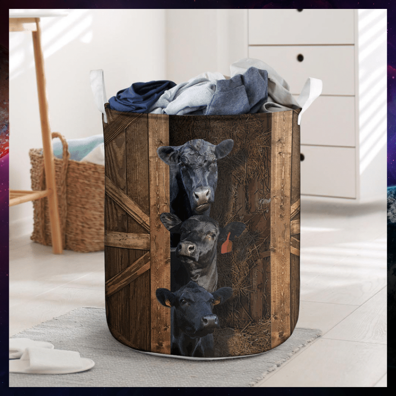 Black angus cattle laundry basket 1