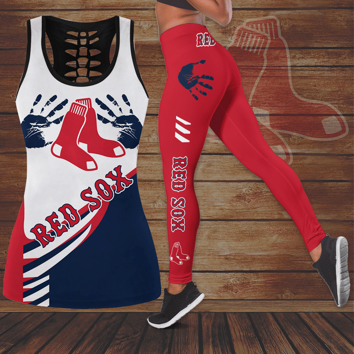 Boston Red Sox hollow Tank Top And Legging Set