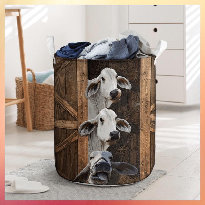 Brahman cattle funny sneaky laundry basket 1
