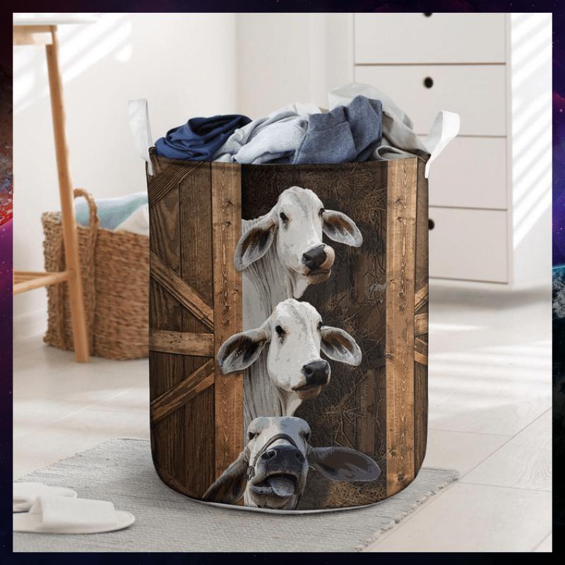 Brahman cattle funny sneaky laundry basket 2