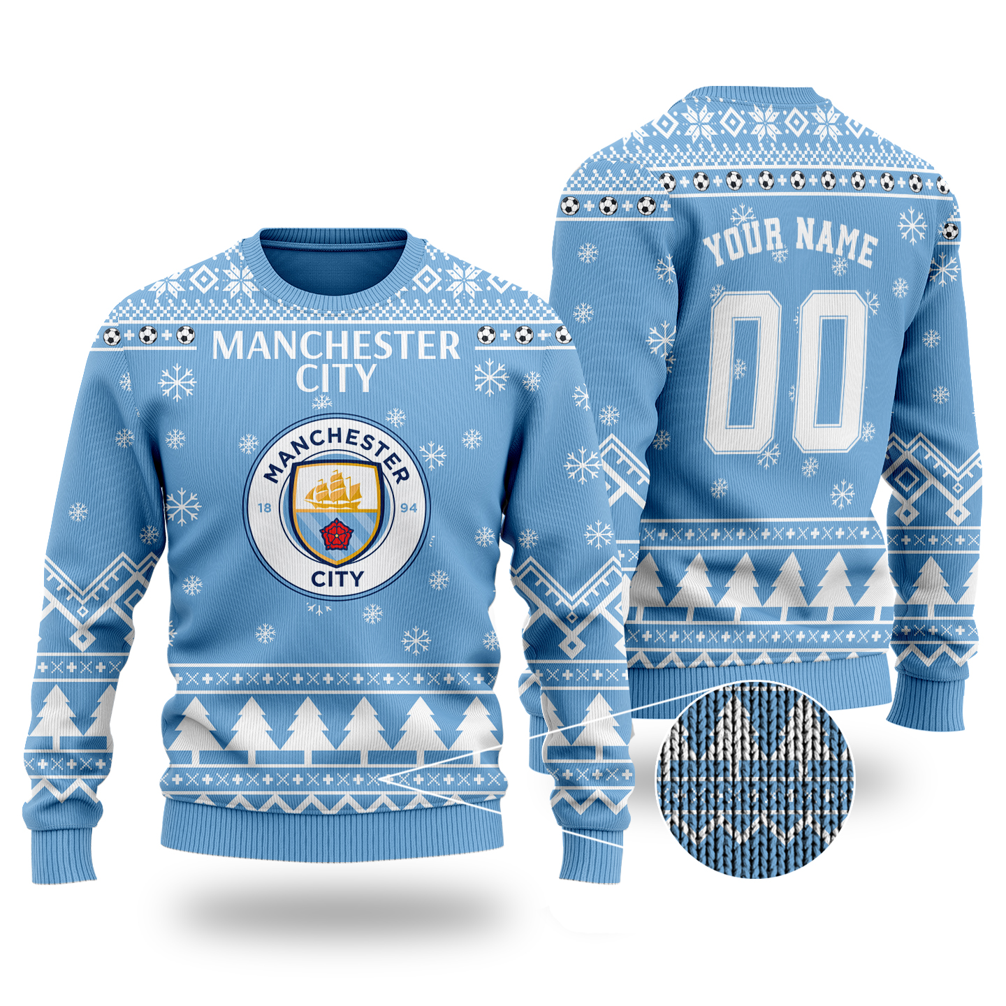 Manchester City custom ugly Christmas sweater