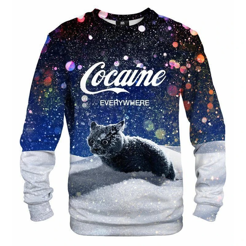 Cat cocaine snow 3d sweatshirt3
