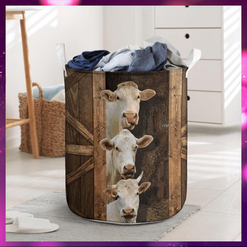 Charolais cattle laundry basket 1