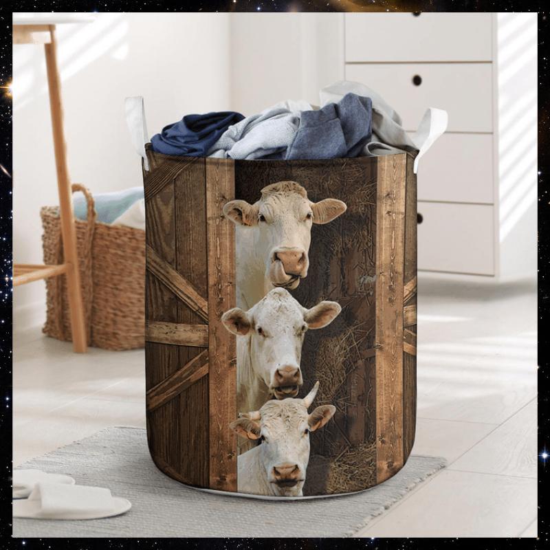Charolais cattle laundry basket 2