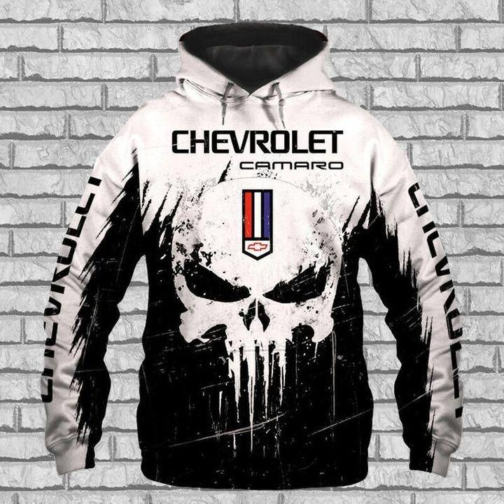Chevrolet camaro punisher skull 3d over print hoodie 2